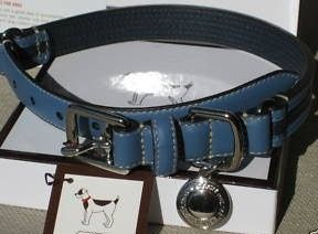 Coach Blue Leather Dog Collar with Black Stripe