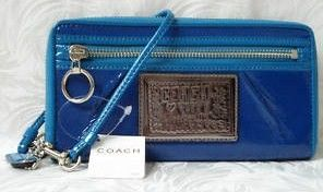 Coach Blueberry Poppy Leather Zip Wallet