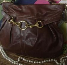 Coach Burnished Leather Pleated Purse 10205