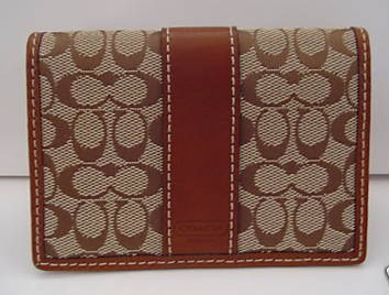 Coach Business Card Holder Khaki Toffee