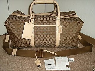 Coach Cabin Duffle Bag Luggage Mini Signature Khaki 77013