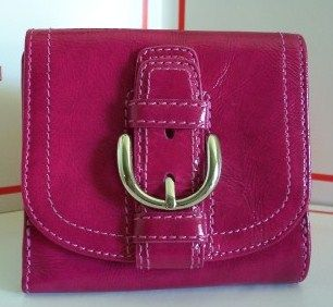 Coach Compact Wallet Magenta Leather