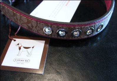Coach Dog Collar Signature with Pink Leather