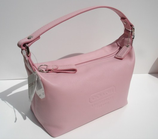 Coach embossed pink leather top handle purse