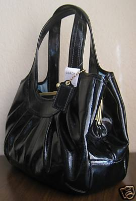 Coach Ergo Pleated Patent Leather Purse Blalck