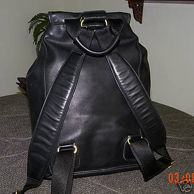 Coach Extra Large Black Leather Backpack Back View
