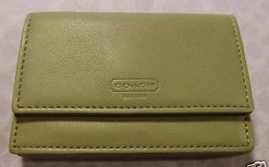 Coach Green Leather Business Credit Card Holder FS8889