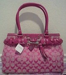 Coach Hamptons Pink Signature Carryall Purse