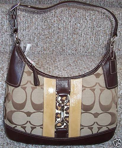 Coach Hamptons Signature Stripe Hobo Purse 13071