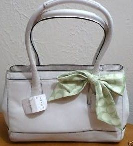 Coach Hamptons White Leather Madeline Tote Purse