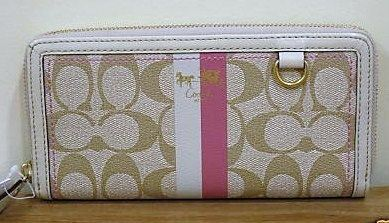 Coach Heritage Accordian Zip Wallet Signature Khaki Pink