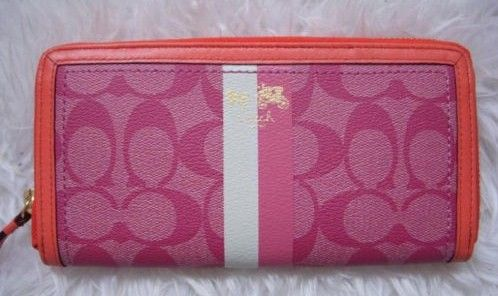 Coach Heritage Stripe Accordion Wallet Pink
