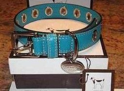 Coach Large Azure Blue Leather Dog Collar