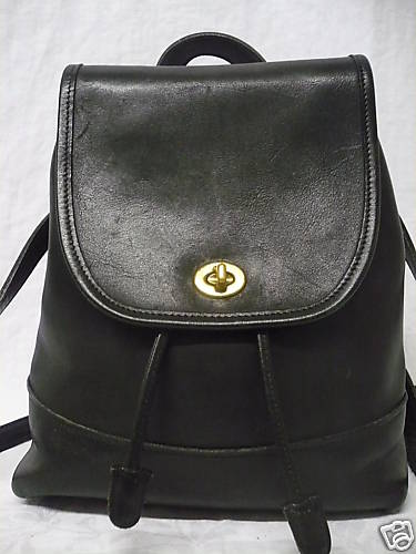 Coach Large Black Leather Backpack Pre Owned Up Close Front