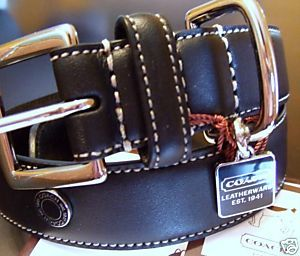 Coach Large Dog Collar Black Leather 8848