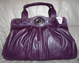 Coach Large Garnet Purple Leather Satchel