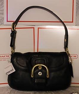 Coach Leather Hobo Black 11840
