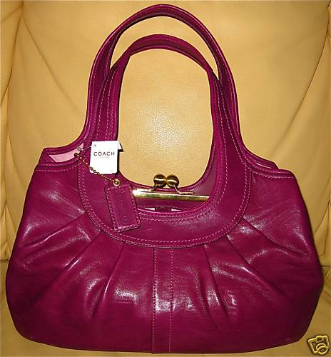 Coach Leather Magenta Satchel Handbag