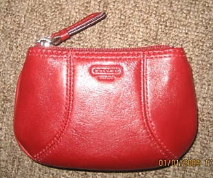 COACH Red Leather Mini Skinny Coin Wallet