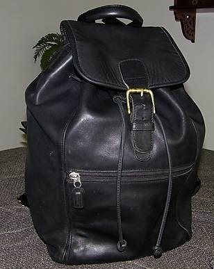 Coach Leather XL Backpack Blk Front View