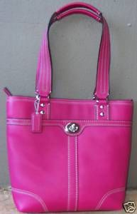 Coach Leather Lunch Tote Fuchsia