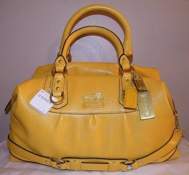 Coach Madison Leather Large Sabrina Purse Ginger Yellow