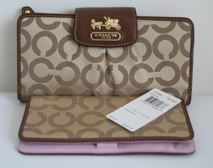 Coach Madison Op Art Checkbook Wallet Khaki
