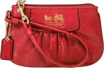 Coach Madison Red Leather Pleated Wristlet