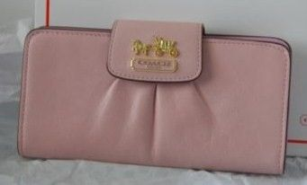 Coach Madison Slim Envelope Zip Around Wallet Pink Leather