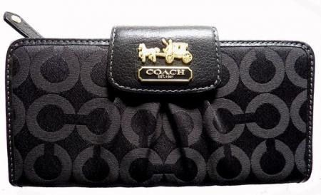 Coach Madison Black OP Art Slim Envelope Wallet