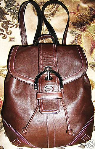 Coach Mahogany Leather Backpack Style 3559
