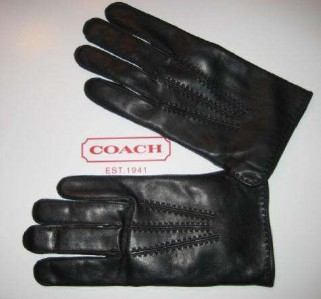Coach Mens Black Leather Gloves
