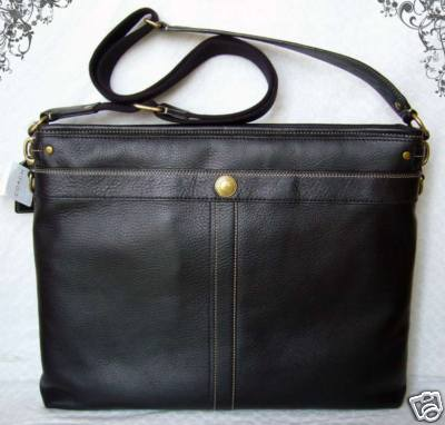 Coach Messenger Bag Black Leather
