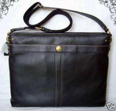 Coach Messenger Bag Black Leather