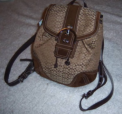 Coach Mini Signature Backpack Khaki Suede Trim