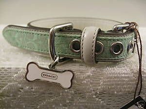 Coach Mini Signature Designer Dog Collar with Enameled Steel Bone Charm