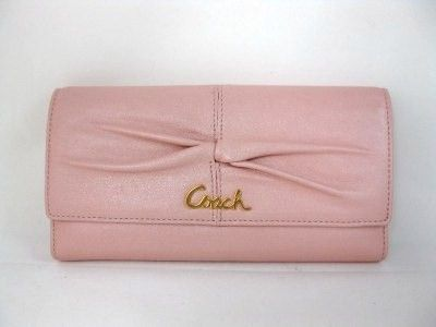 Coach Parker Rose Leather Checkbook Clutch Wallet 42451