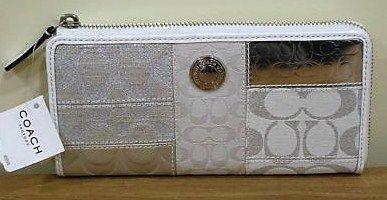 Coach Patchwork Accordian Wallet White