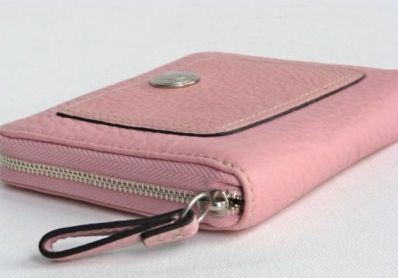 Coach Pebble Leather Pink Zip Around Compact Wallet