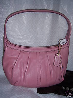 COACH Pink Leather Pleated Hobo Purse 12235