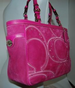 Coach Pink Pieced Signature Suede Gallery Tote Bag