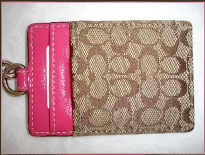 Coach Pink Signature Lanyard Badge ID Card Holder Case 60357