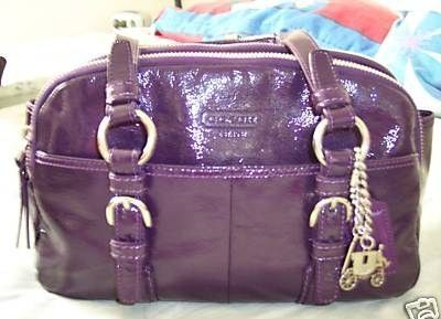 Coach Purple Patent Leather Satchel Purse