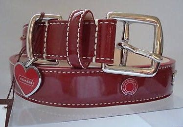 Coach Red Patent Leather Dog Collar w/Hert Charm