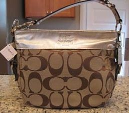 Coach Signature Khaki Brown Shoulder Purse