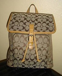 Coach Signature Backpack Front View
