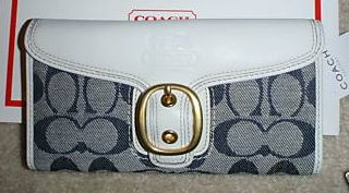 Coach Signature Bleecker Denim Flap Wallet 41032