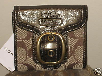 Coach Signature Bleecker French Purse Wallet Khaki F41562