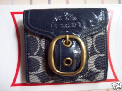 Coach Signature Bleecker French Wallet Denim