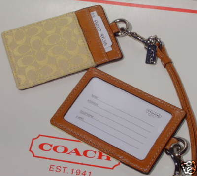 Coach Signature Card Holder ID Neck Lanyard 60157